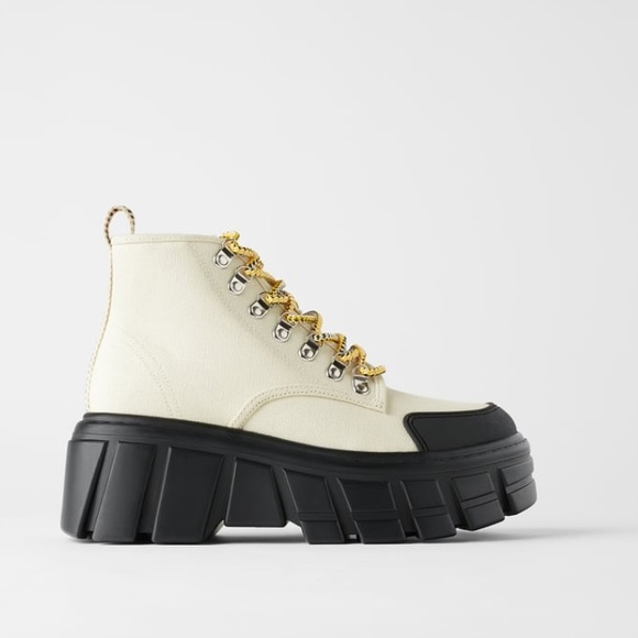 Zara Canvas Thick Soled Ankle Boots